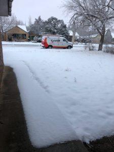 van in snow jt